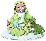 Sonriendo Reborn Baby Doll 55 CM Realista Silicona Suave Toque Suave Bebé Mano Arraigada Pelo...