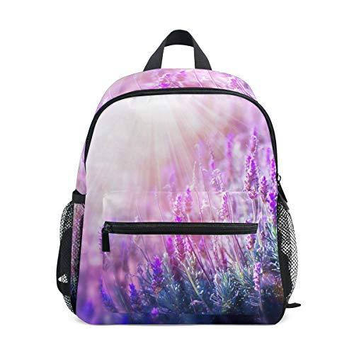 Small School Bag Lavender Flower Mauve Backpack for Girl Boy Children Mini Travel Daypack Primary Preschool Student Bookbag