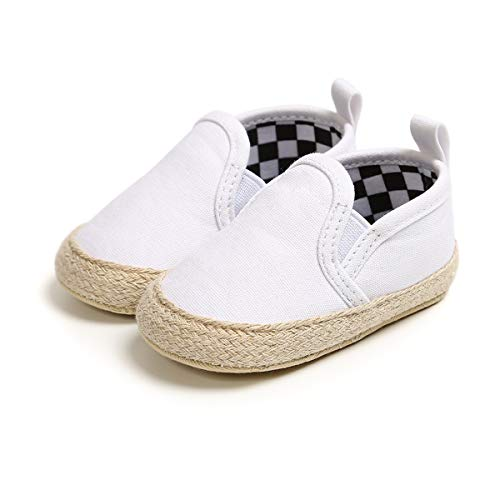 Dukars Baby Boys Girls Soft Sole Moccasins Lace-up Infant Toddler Shoes Sneaker (13cm (12-18months), Canvas - Grey)