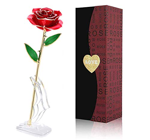Gold Dipped Rose, 24k Gold Rose,Long Stem 24k Gold Dipped Rose Lasted Real Roses with Stand, Romantic Gift for Valentine's Day/Mothers Day/Christmas/Birthday/Best Anniversary Gifts for Her,Mom,Wife