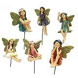 Chou Fairy Garden - Lot de 6 figurines miniatures fées pour l'extérieur ou la décoration de la maison