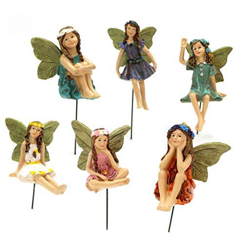 Hergon - Lote de 6 figuras de resina para decoración del hogar o jardín