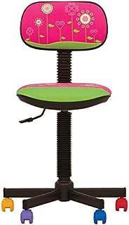 Bambo – Silla de escritorio infantil ergonómica, altura del asiento 42 cm-56 cm),altura del respaldo ajustable/giratorio 360 °/ruedas multicolor (ROSA)