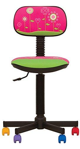 BAMBO- Chaise DE Bureau Enfant Ergonomique, Hauteur du SIÈGE 42 cm-56 cm. Hauteur Dossier RÉGLABLE/PIVOTANT A 360°/ roulettes Multicolores. Prix Discount. (Rose/Fleur)