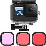 Kiowon GoProダイビングハウジング GoPro Hero9 Black 専用 50m防水ケース+ 3タイプレンズフィルター(レッド+マゼンタ+ピンク) 水中撮影用アクセサリー ゴープロヒーロー 9 Blackに対応アクセサリー