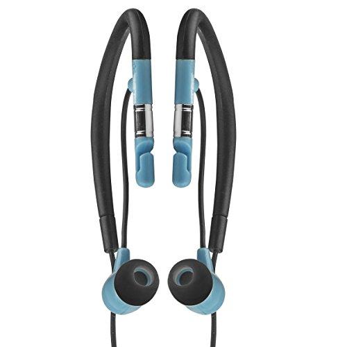 Elbe AU-009-DEP - Auriculares Deportivos intraauditivos Resistentes al Agua, Color Negro y Azul