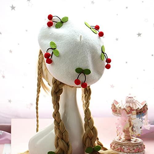 Lolita flickor söt mössa kvinnor avslappnad barett hatt målare hatt unisex konstnär mössa kupol rosa enfärgad dekorera