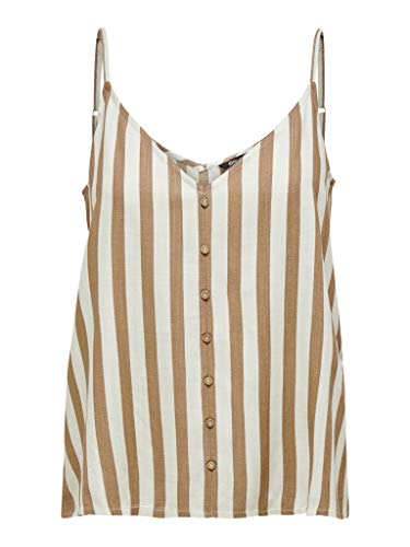 ONLY Womens ONLASTRID Singlet WVN NOOS Cami Shirt, Stripes:Silver CONCE Stripe Cloud Dancer, 38