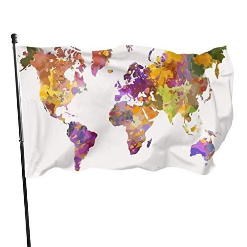 GOSMAO Bandera de Jardín Doble Costura Resistentes a la Decoloración UV Banner de Bandera Decorativo Exterior Fiesta Mardi Gras para Patio Césped Mapa del Mundo de Acuarela 150X90cm