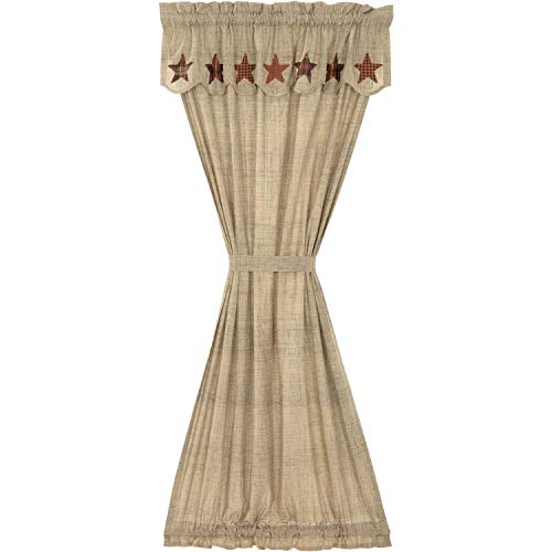 VHC Brands Abilene Star Door Panel with Attached Valance 72x40 Country Curtains, Tan