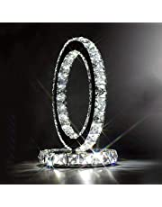 LEGELY Mode rostfritt stål kristall bordslampa sänglampa modern stil kreativ enkel sovrum vardagsrum trendig kristall LED kristall lampa dubbelsidig, vitt ljus
