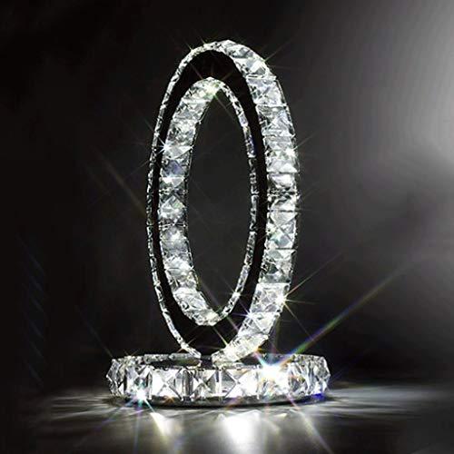 WSHFOR Art und Weise Edelstahl-Kristall-Tabellenlampe Nachttischlampe moderne Art Kreatives einfaches Schlafzimmer-Wohnzimmer modisches Kristall LED-Kristalllampe doppelseitig (weißes Licht)