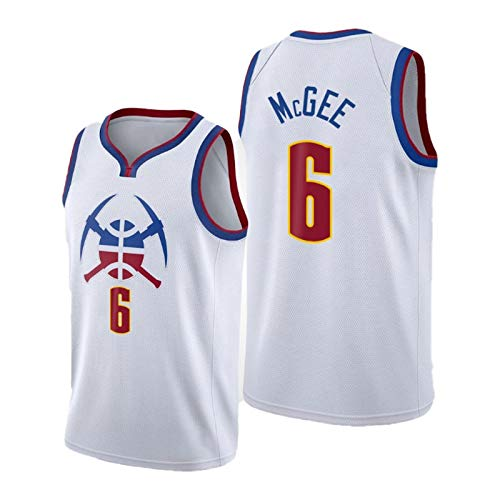YPKL Javale Mcgee Basketball Jersey para Hombres, 2021 New Temporada Denver Nuggets 6# White Jerseys, Unisex Sin Mangas Entrenamiento Deportes Deportes Top (S-2XL) XL