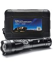 PrimeOutdoor Ultra Zaklamp - 1 Militaire LED Zaklantaarn met Oplaadbare Batterij - 3000 Lumen - IP65 Waterdicht - Aluminiumlegering - 16,5cm x 4,2cm - Zwart - Telescopische Zoom