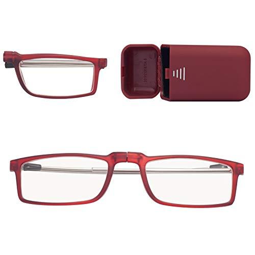 折りたたみ式老眼鏡 携帯用 コンタクト 持ち運び便利 ケース付き ブルーライトカット ユニセックス メンズ レディース おしゃれ 軽いリーディンググラス 度付き レッド 度数+350 7025