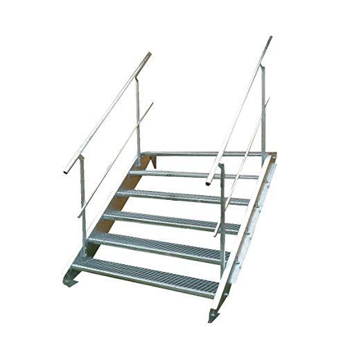 Stahltreppe Industrietreppe Aussentreppe Treppe 6 Stufen-Breite 90cm Variable Geschosshöhe 90-120cm vezinkt mit beidseitigem Geländer