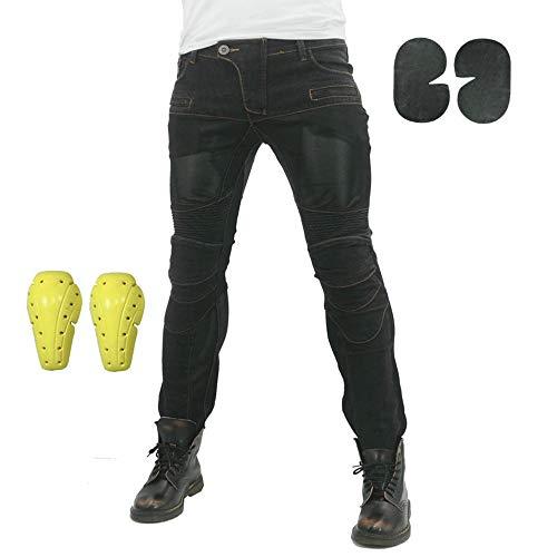 Pantalones Vaqueros Para Montar En Moto Para Hombre, Pantalones De Motocicleta Elásticos Y Transpirables Con 4 Almohadillas Protectoras Desmontables, Pantalones De Motocicleta Anti Caída (Negro,M)