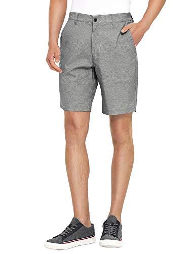 PULI Men's Super Comfy Stretch Flex Waist Cargo Shorts Flat Front Chino Golf Dress Grey 32