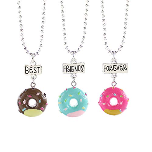 NUOBESTY 3 Pcs Best Friend Necklaces Donuts Ice Cream Pendant Friendship BFF Necklaces for 3 Girls Birthday Friends Sisters Jewlery Gifts (Best Friend Forever)