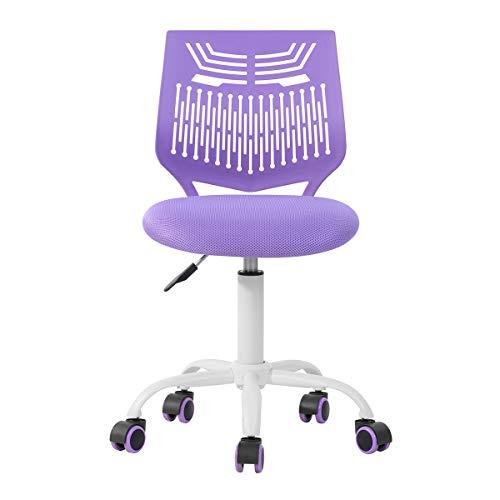 Silla ajustable de escritorio silla de estudio, silla de ordenador asiento de tela, silla de escritorio giratoria sin brazos, color morado