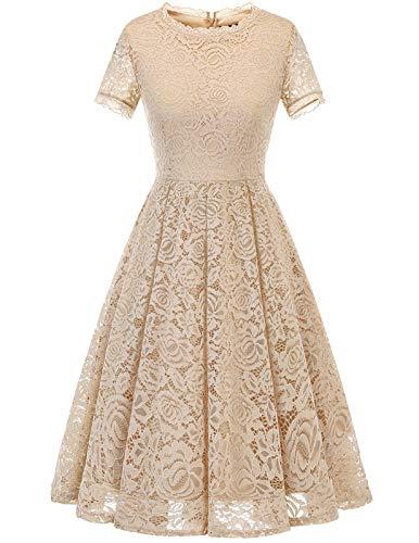 DRESSTELLS Damen Midi Elegant Hochzeit Spitzenkleid Kurzarm Rockabilly Kleid Cocktail Abendkleider Champagne 2XL
