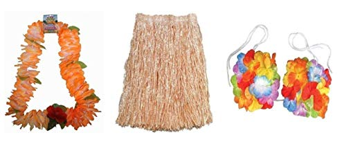 WPN Hawaiian XL Straw Grass Skirt, Flower Bra & Orange Garland Fancy Dress