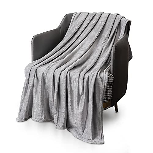KEPLIN Flanell-Decke, Überwurf, große Tagesdecke (150 x 200 cm) – weich, flauschig, warm, Mikrofaser-Stoff-Design, Bettbezug, Teppich (Silbergrau, Doppelbett)