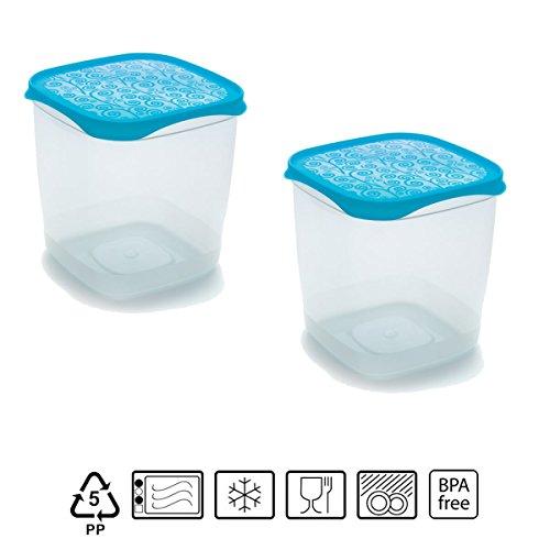 Set de 2 Coupelles hermeticos carrés avec couvercle bleu de 1,4 litres – BPA Free.
