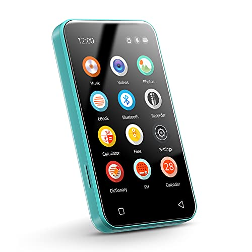 """TIMMKOO MP3 Player with Bluetooth, 4.0"""" Full Touchscreen Mp4 Mp3 Player with Speaker, 8GB Portable HiFi Sound Mp3 Music Player with FM Radio, Voice Recorder, E-Book, Supports up to 128GB TF Card Blue"""