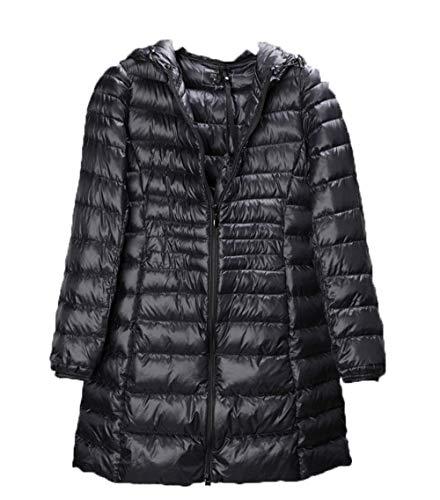Manteau Long d'hiver À Doudoune Capuche Léger pour Femmes - Imperméable, Veste pour Femme Légère, 2 Poches Avant, Chaud - Temps Humide, Marche