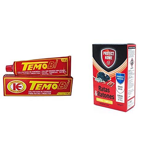 Impex Europa Temobi, Cola No Venenosa para Atrapar Ratas E Insectos - 135 G + Raticida En Cereal De Alta Eficacia Y Potente Atracción para Zonas Secas