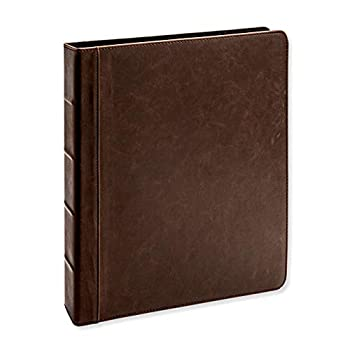 Vintage Professional 3 Ring Binder Organizer 1-inch Round Rings 8.5  x 11  Sheet Size 2 Inner Pockets 1.6  Spine Appearance of Antique Brown Leather