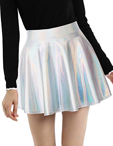 Plus Size Shiny Metallic Liquid Skater Skirts Silver 2XL