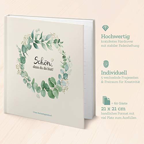 Kipitan Hochzeit-Gästebuch mit Fragen Greenery - individuell & abwechselnd: viel Freude beim...