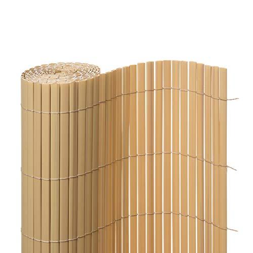 Ventanara Sichtschutzmatte PVC Sichtschutzzaun Sichtschutz Windschutz für Garten Balkon Terrasse (120 x 500 cm, Bambus)