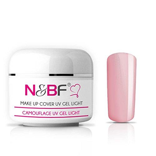 N&BF Make Up UV Gel 30ml light rose/hellrosa milchig | Camouflage Gel mittelviskos | Made in EU | Covergel für Babyboomer und French | Abdeck Gel rosa selbstglättend + säurefrei | Nagelgel deckend