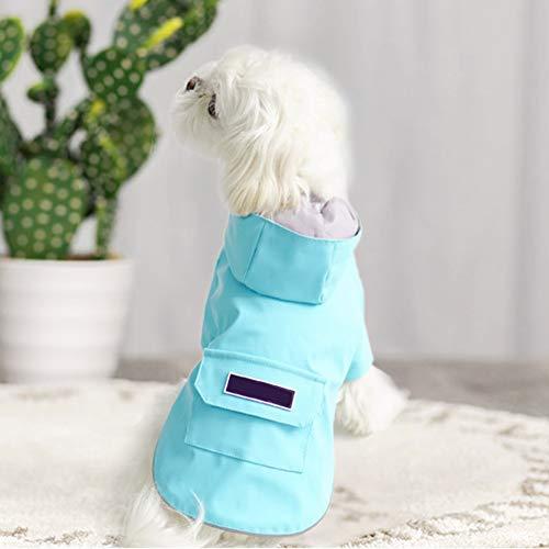 Impermeable para perros Perro Chubasqueros-Abrigo con Chaqueta Capucha medianos Tiras reflectoras seguras Sudaderas Agujero Arnés Tira Reflectante Bolsillos Ultra-Light Transpirable, blue/XL