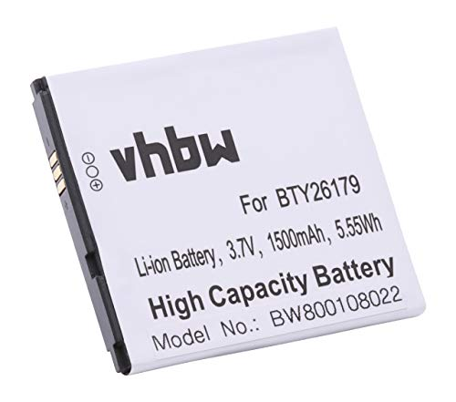 vhbw Li-Ion Akku 1500mAh (3.7V) für Handy Telefon Smartphone Elson Mobistel Cynus T1 wie BTY26179, BTY26179MOBISTEL/STD.