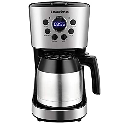 Programmable Coffee Maker 10 Cup, Compact Coffee Machine With 50oz Thermal Carafe Coffee Pot, Brew Strength Control, Mid-Brew Pause and Anti-Drip Function, Stainless Steel