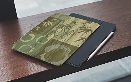 MEMETARO Funda para iPad (9,7 Pulgadas 2018/2017 Modelo), Círculo y Silueta de bambú sobre Color Vintage impresión de Arte Oriental Oriental p Smart Leather Stand Cover with Auto Wake/Sleep