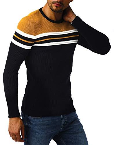 Leif Nelson suéter de Jersey de Punto Fino de Cuello Redondo de los Hombres de LN-1985 Ocre Oscuro Azul Medium