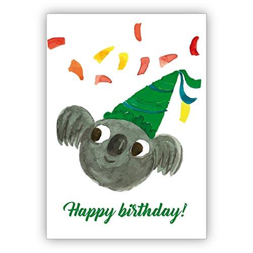Grappige geschilderde verjaardagskaart met party koala-beer en confetti als felicitatie voor het verjaardagskind: Happy Birthday • nobele felicitatiekaarten voor verjaardag met enveloppen voor vrienden en familie 4 Grußkarten multicolor