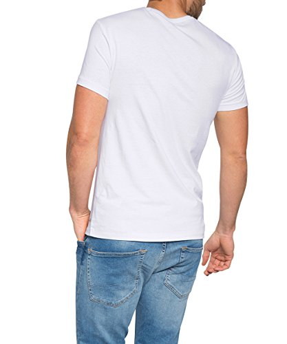 Esprit EDC 075CC2K011 - T-shirt - Manches courtes - Homme, Blanc (white 100), X-Large (Taille fabricant: DE: L)