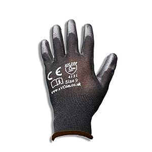 12 guantes de trabajo de nailon negro con revestimiento de poliuretano de eVCom®. Ideal para mecánicos, trabajadores de la construcción o tareas de jardinería.