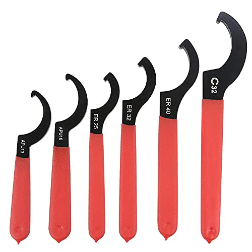 Coilover Wrench, Hook Wrenches Tools Set Shock Spanner Wrench set C-Shape Spanner Coilover Adjustable Spanners Adjustment Tool For Most Coil Over (6PCS)