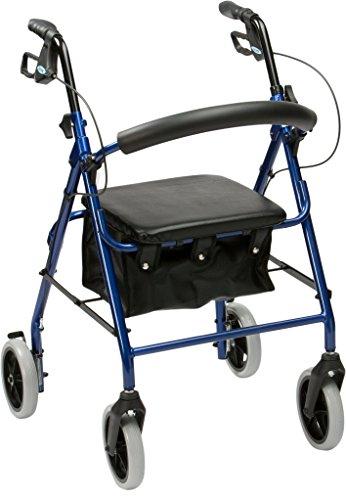 Drive Medical R6BL-23 - Deambulatore, telaio in alluminio, con sedile imbottito, ultra-leggero, blu