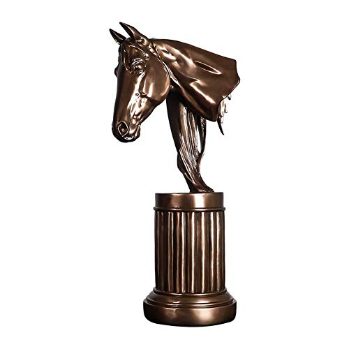 Home Accesorios Estatua decorativa de cabeza de caballo, cabeza de caballo busto escultura resina imitación cobre escritorio escritorio escritorio oficina decoración clásica