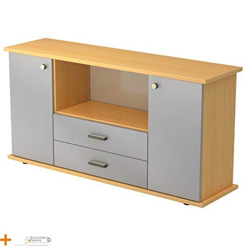Preisvergleich Produktbild Büromöbel Experte Sideboard Büroschrank Aktenschrank Buche-Silber Streifengriff 3 Fachböden