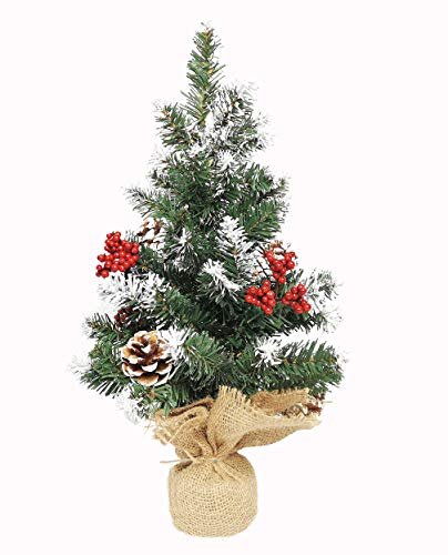 Premium Spruce Hinged Artificial Christmas Tree, Tabletop Pencil Pine Tree with Cloth Bag Base, 2 Ft Skinny Flake Xmas Tree with Snow, Desktop Little Christmas Tree for Indoor Outdoor
