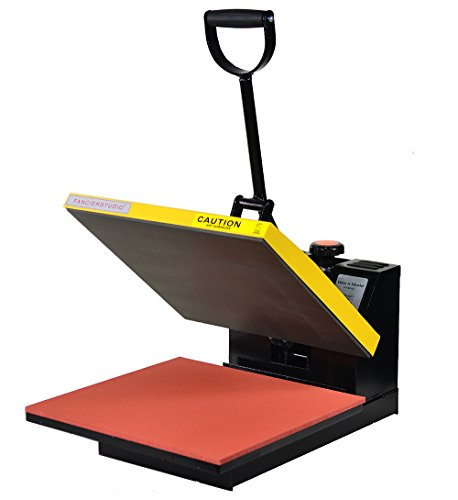 Fancierstudio Power Heat Press 15-by-15-Inch Digital Sublimation Heat Press, Black and Yellow